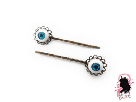 Antique Bronze Eyeball Hair Slides
